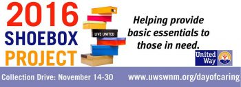United Way 2016 Shoebox Project Starts Monday, Nov 14